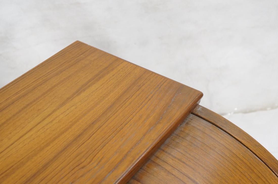 Danish Teak Roll Top Desk 3 Drawers below Roll to - 4