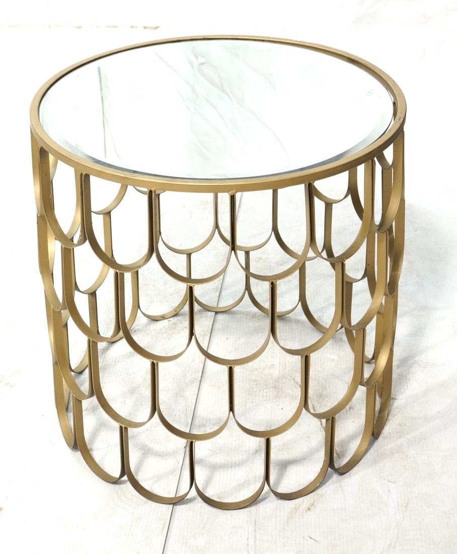 Contemporary Metal Fish Scale Round Table Inset B
