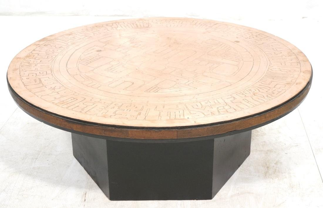 Italian Round Etched Copper Table Top Signed. On