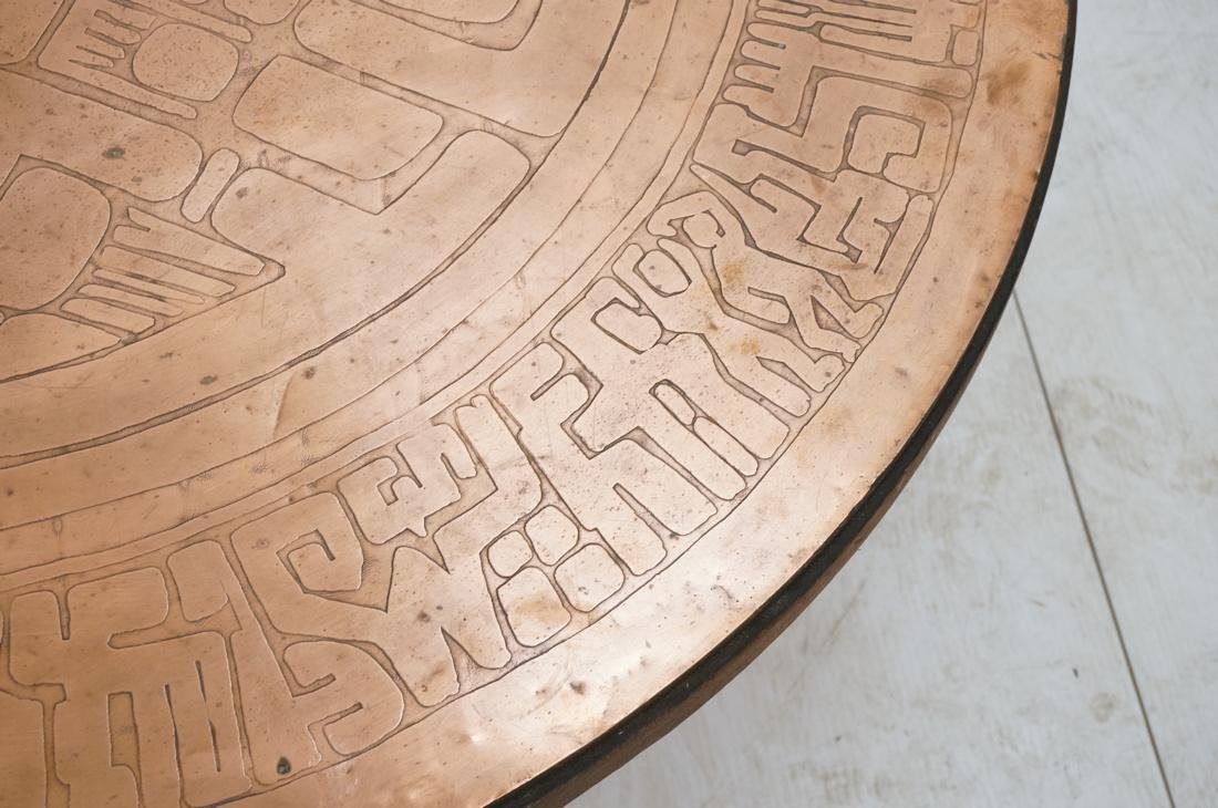 Italian Round Etched Copper Table Top Signed. On - 5