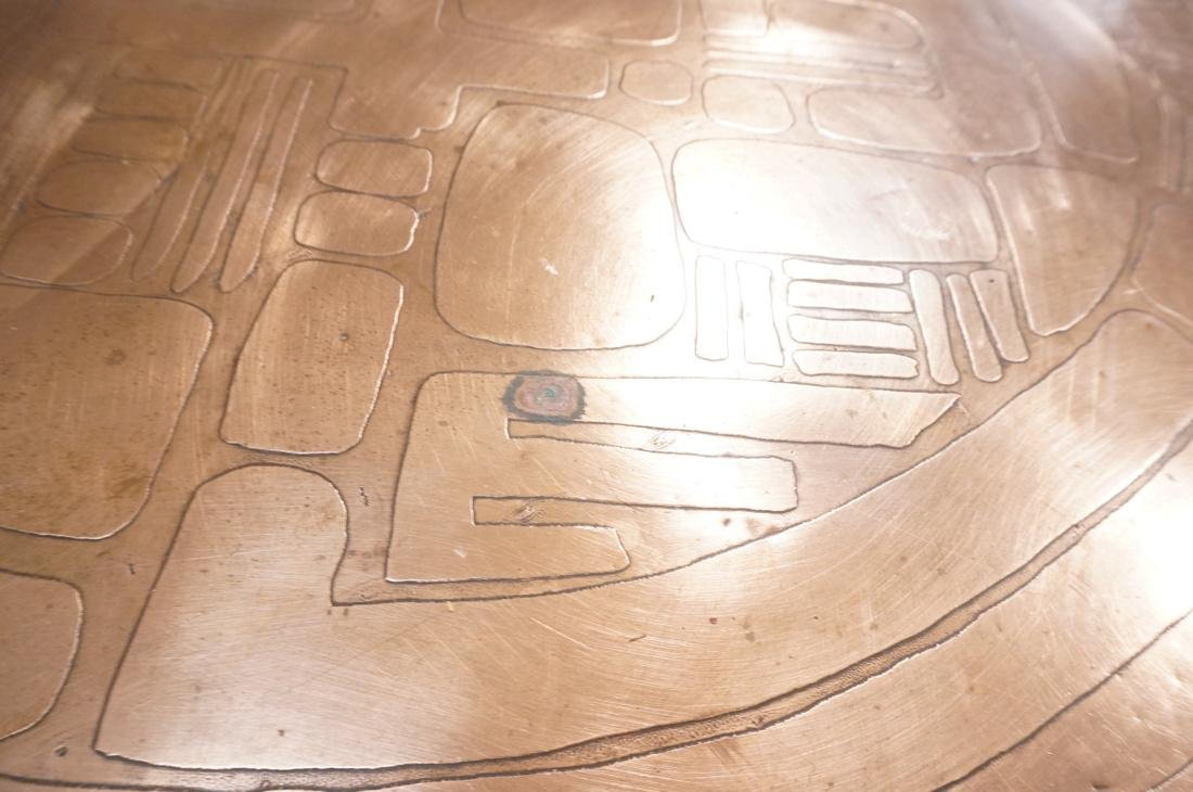 Italian Round Etched Copper Table Top Signed. On - 8