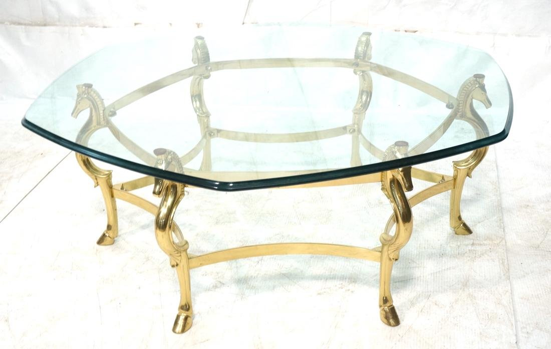 Decorator Brass Horse Head  Cocktail Table Six Si