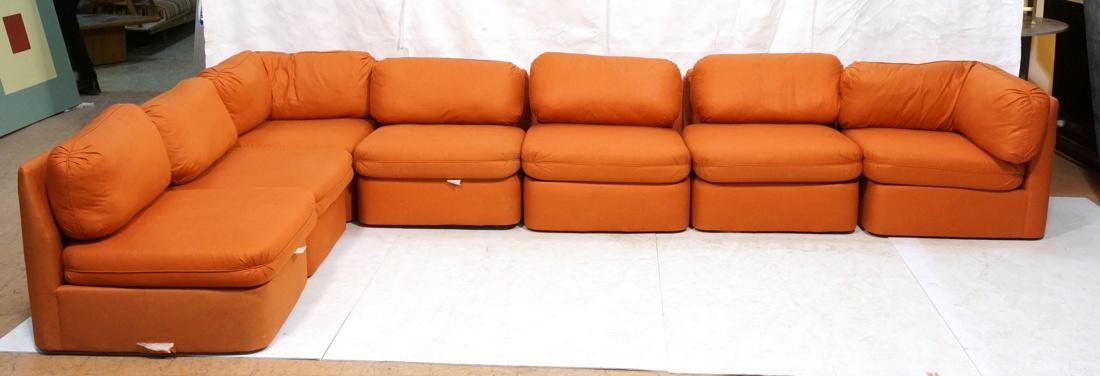 7 pc Sectional  Sofa THAYER COGGIN Orange fabric.