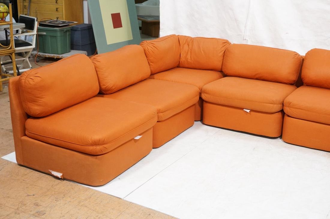 7 pc Sectional  Sofa THAYER COGGIN Orange fabric. - 2