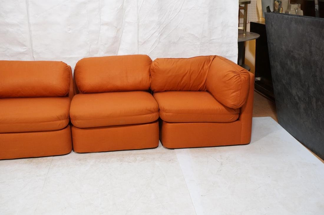 7 pc Sectional  Sofa THAYER COGGIN Orange fabric. - 3