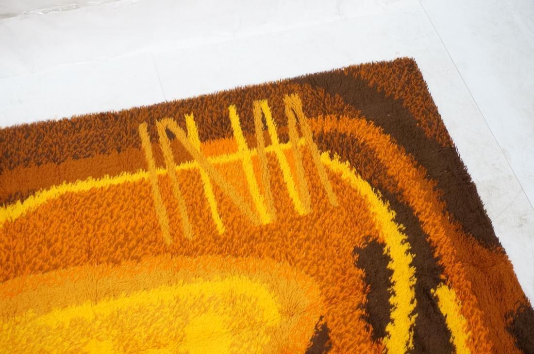 8'8 x 5'11 Modernist Shag Rug Gold Orange and Bro - 3