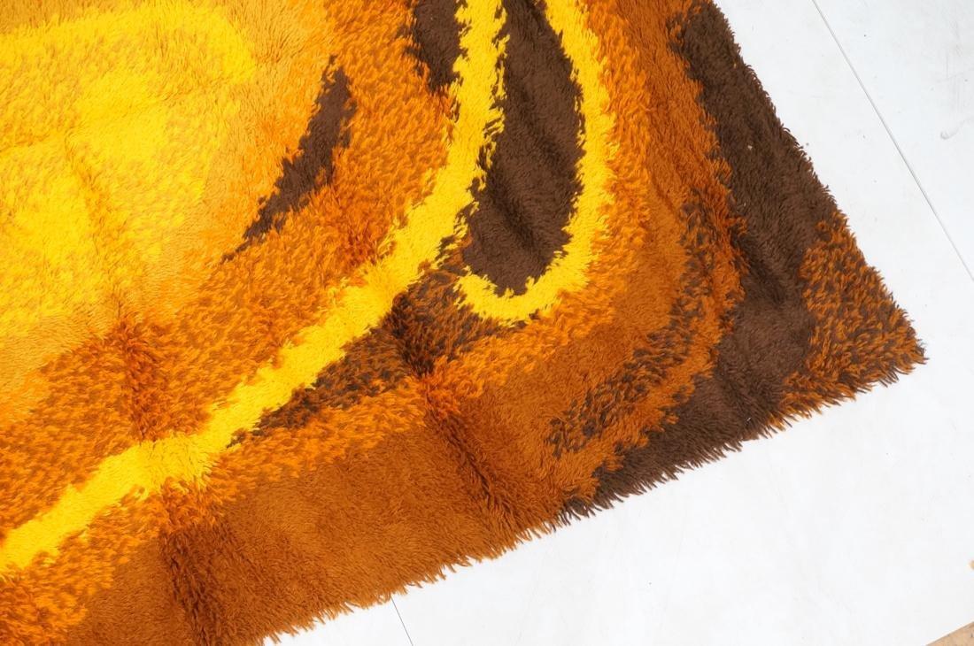 8'8 x 5'11 Modernist Shag Rug Gold Orange and Bro - 4