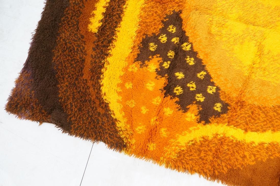 8'8 x 5'11 Modernist Shag Rug Gold Orange and Bro - 5