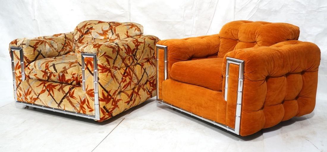 Pr MILO BAUGHMAN Style Chrome Bamboo Lounge Chair