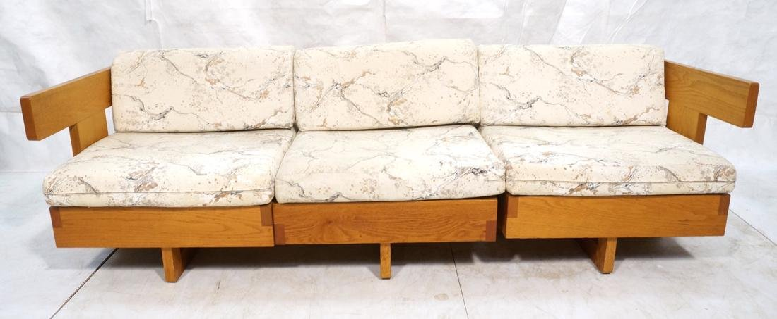 3 Part Oak Sectional Seating JEAN ROYERE Style. 2