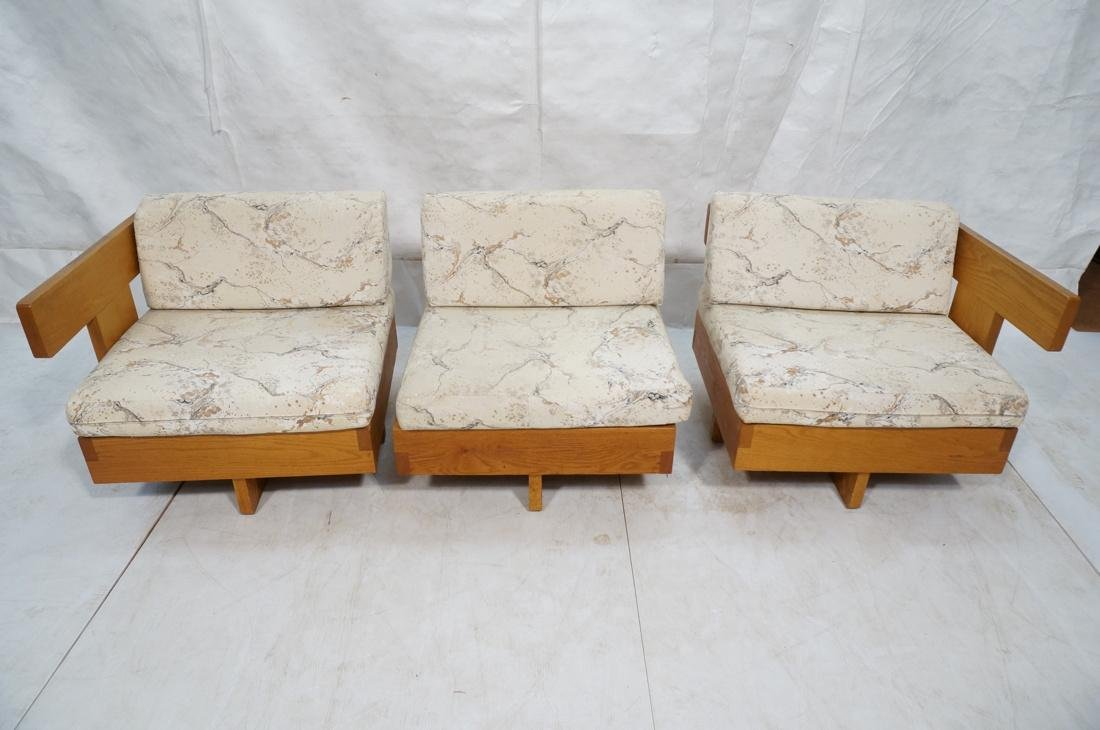 3 Part Oak Sectional Seating JEAN ROYERE Style. 2 - 4