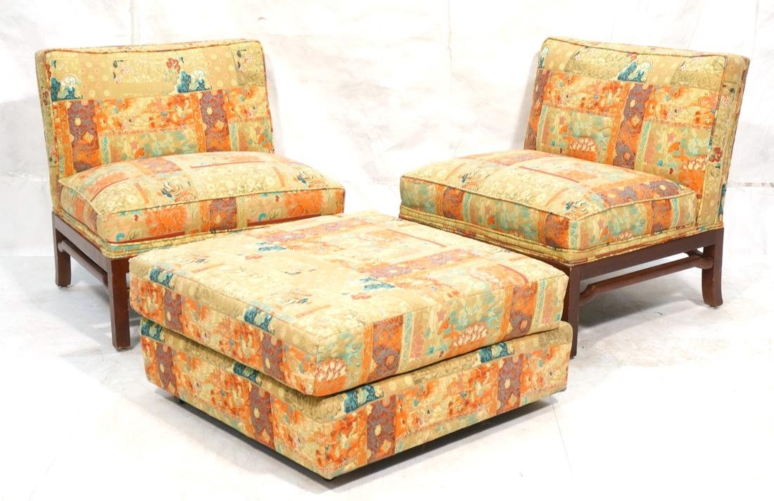 Pr of Modern Lounge Chairs and Ottoman. Wood carv