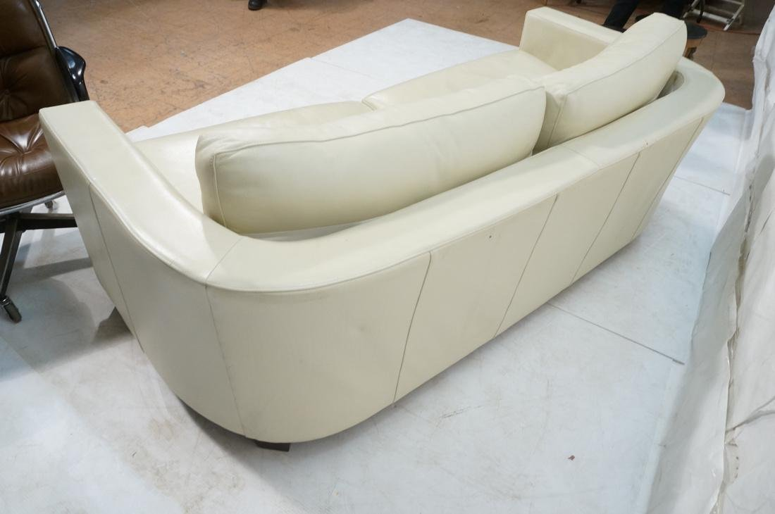 Off White Leather Modern Sofa. Wide arms with rou - 10