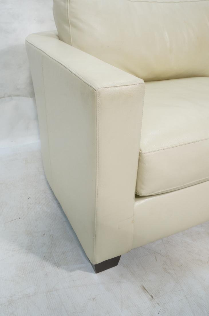 Off White Leather Modern Sofa. Wide arms with rou - 2