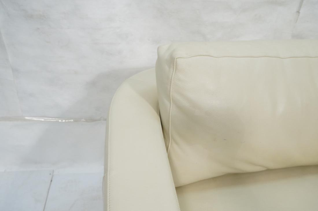 Off White Leather Modern Sofa. Wide arms with rou - 3