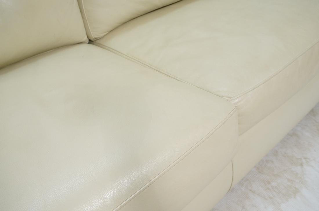 Off White Leather Modern Sofa. Wide arms with rou - 4
