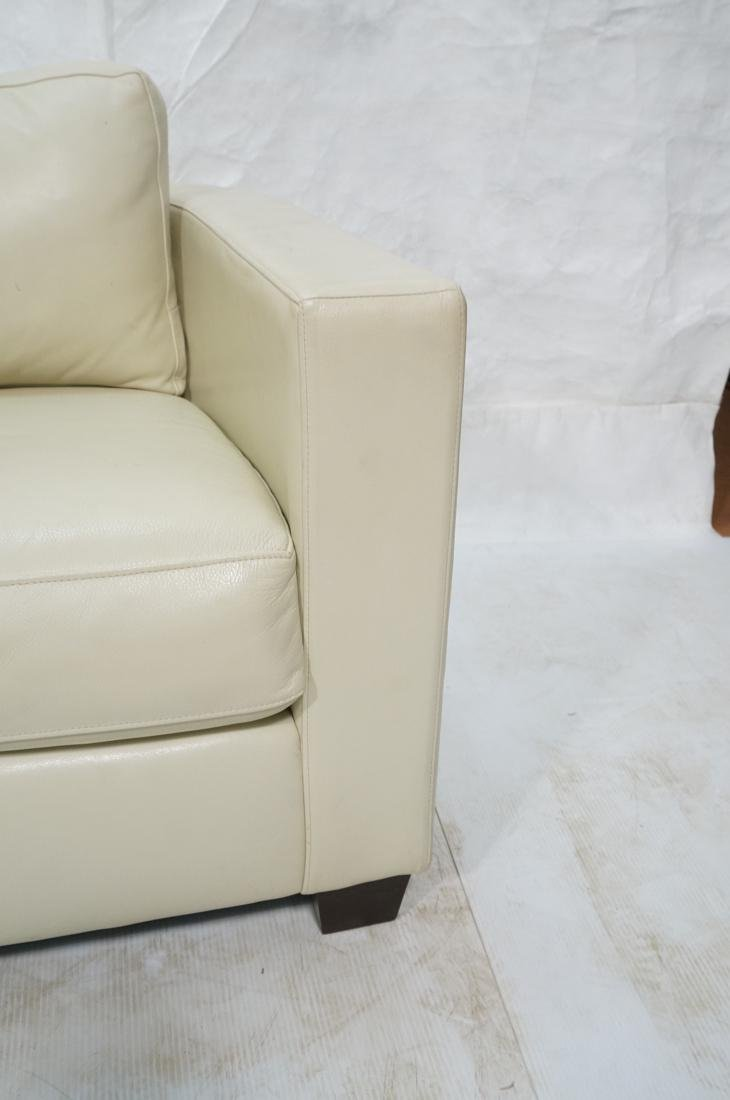 Off White Leather Modern Sofa. Wide arms with rou - 7