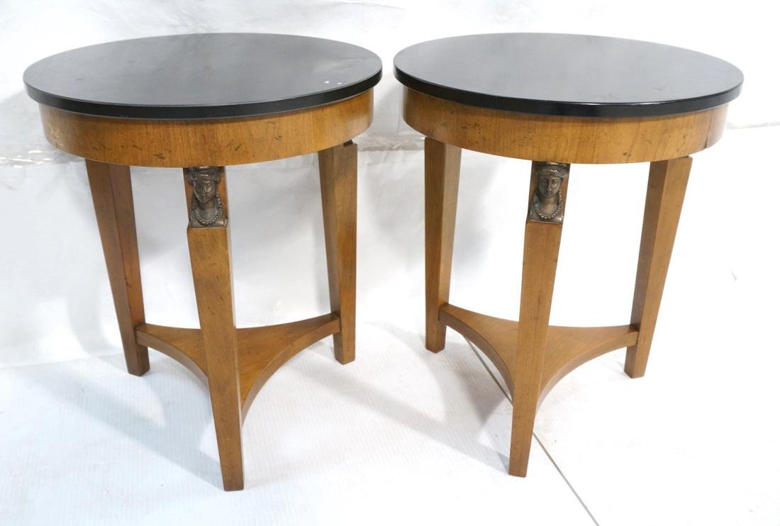 Pr BAKER Tripod Decorator Side Tables. Round blac