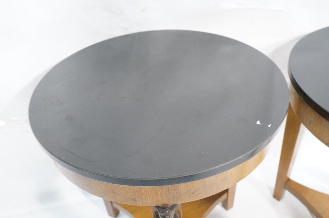 Pr BAKER Tripod Decorator Side Tables. Round blac - 4
