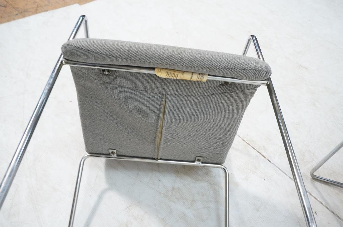 Set of 4 Chrome Tube Side Arm Chairs. Gray tweed - 10