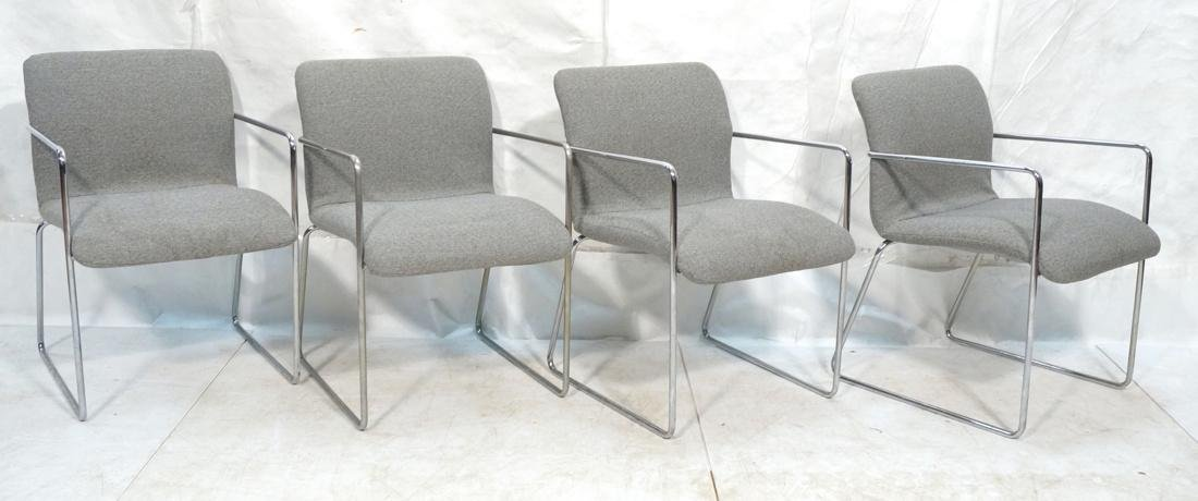 Set of 4 Chrome Tube Side Arm Chairs. Gray tweed