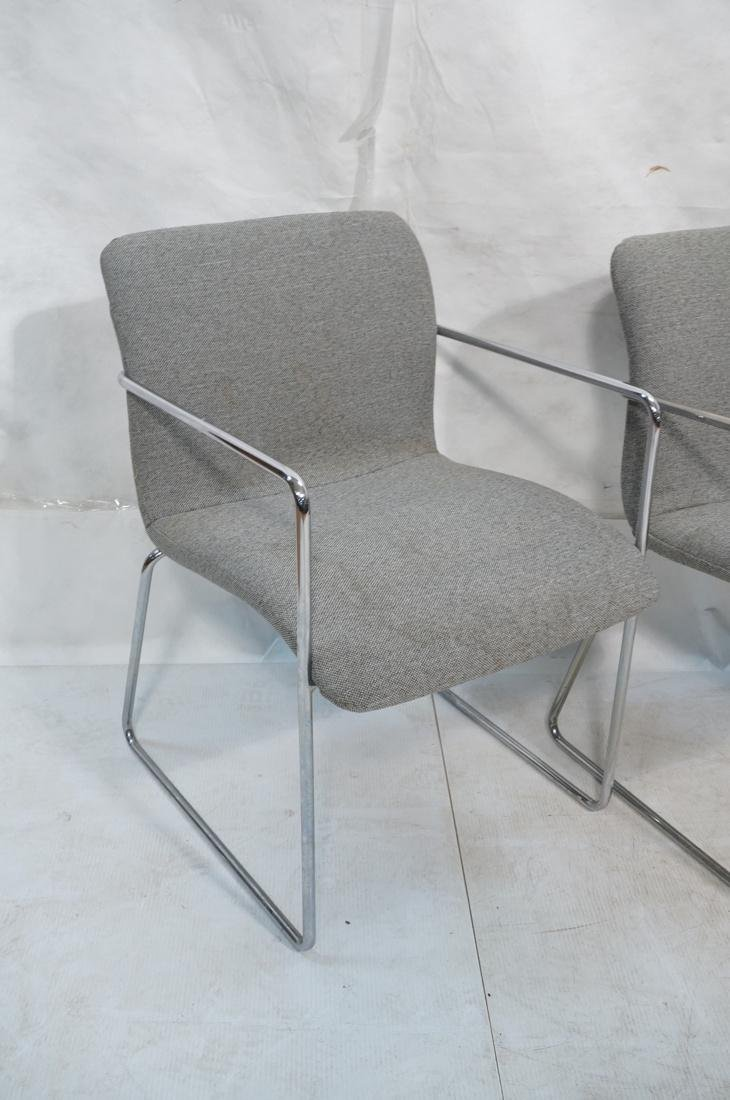 Set of 4 Chrome Tube Side Arm Chairs. Gray tweed - 2