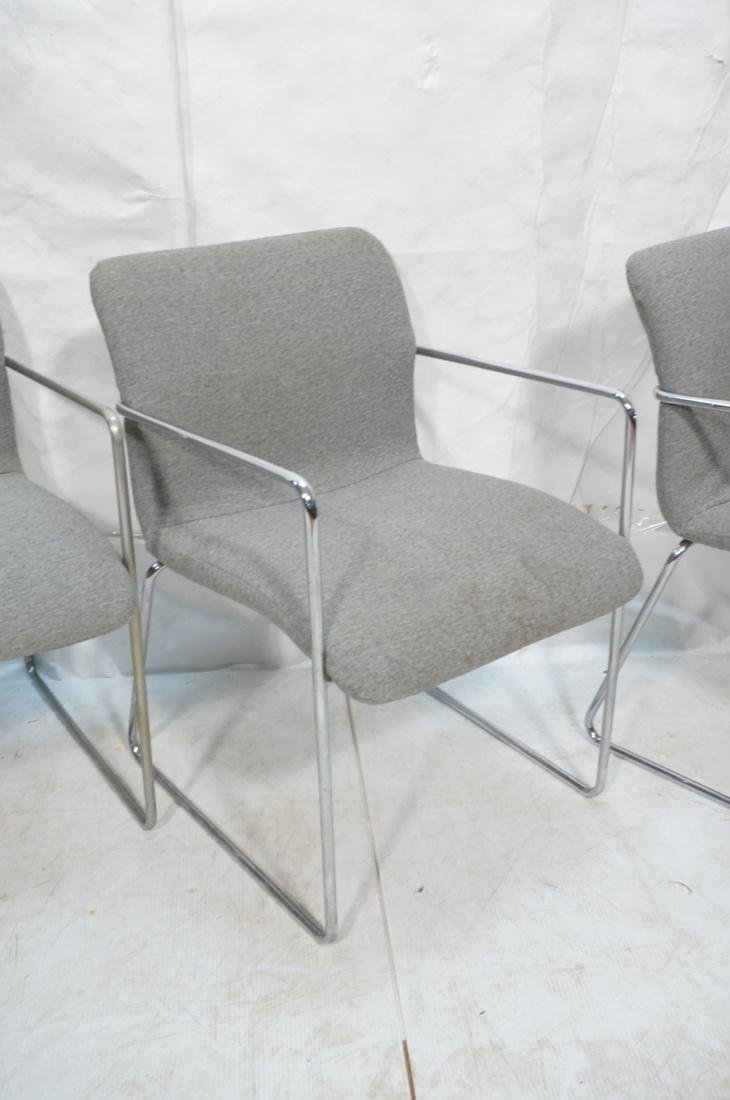 Set of 4 Chrome Tube Side Arm Chairs. Gray tweed - 4