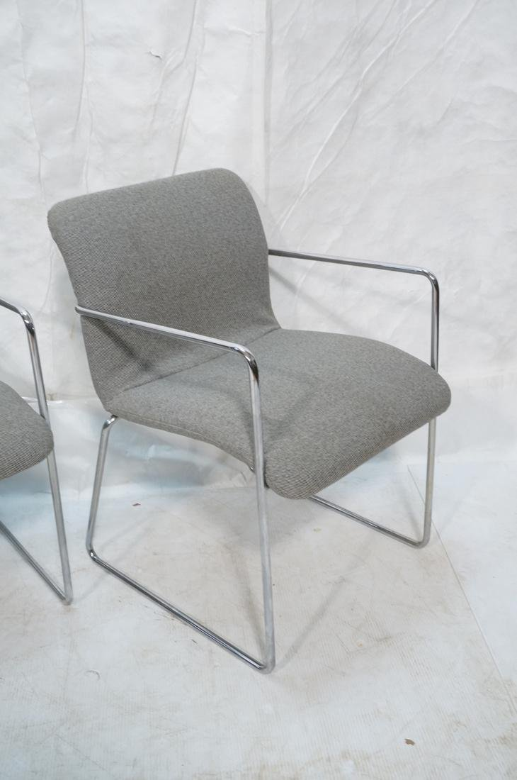 Set of 4 Chrome Tube Side Arm Chairs. Gray tweed - 5