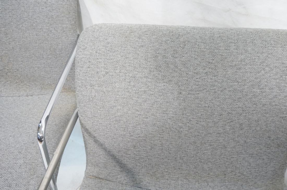 Set of 4 Chrome Tube Side Arm Chairs. Gray tweed - 7