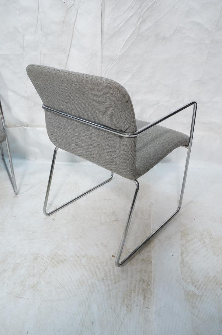 Set of 4 Chrome Tube Side Arm Chairs. Gray tweed - 9