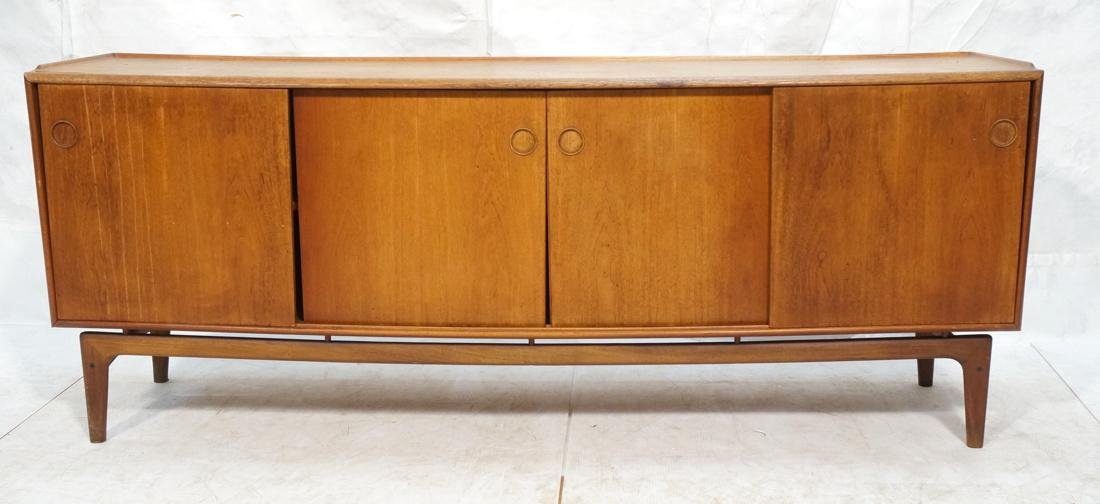 Danish Modern Teak Credenza Sideboard. Raised lip