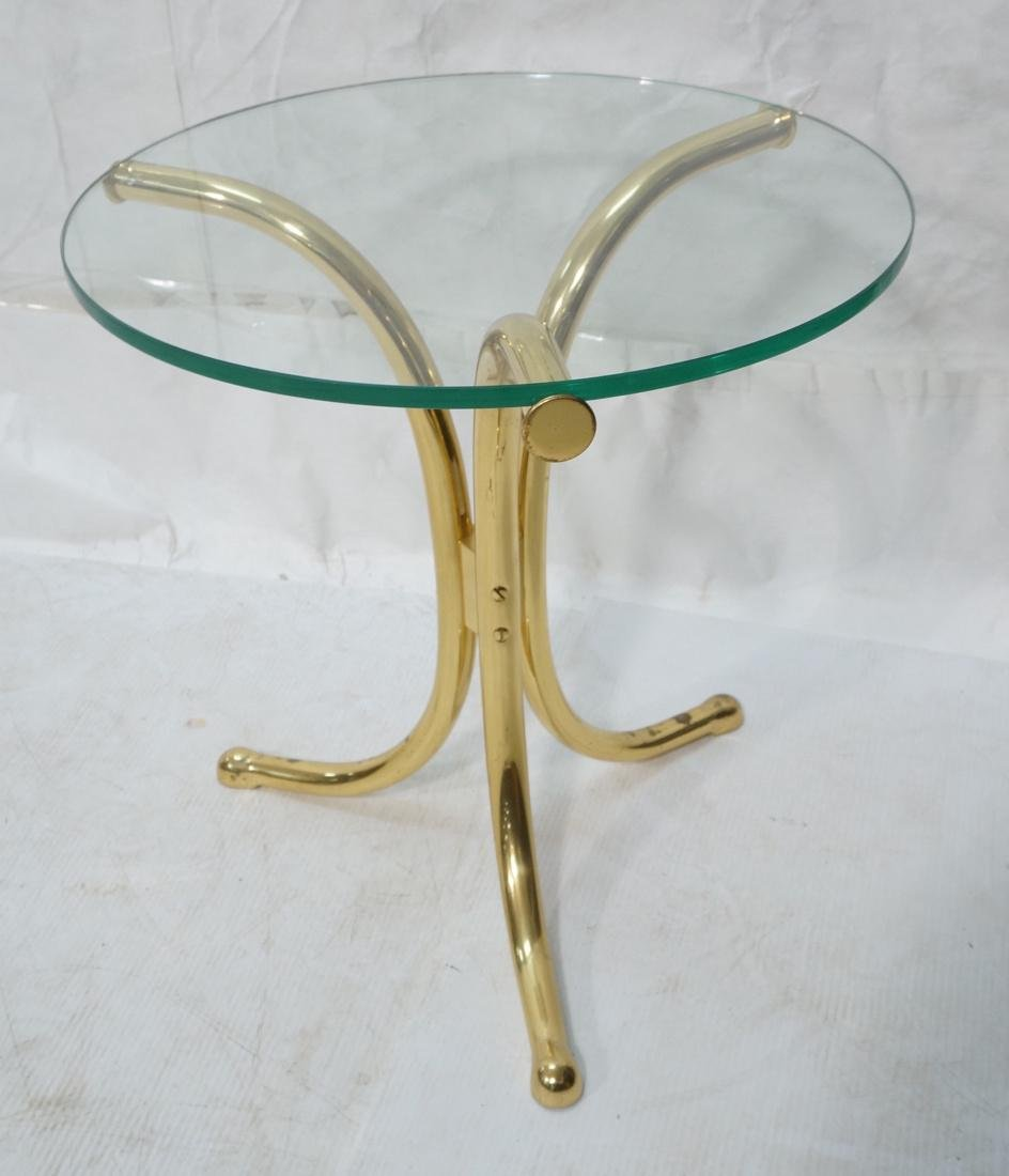 Solid Brass Corseted Tripod Glass Top Side Table.