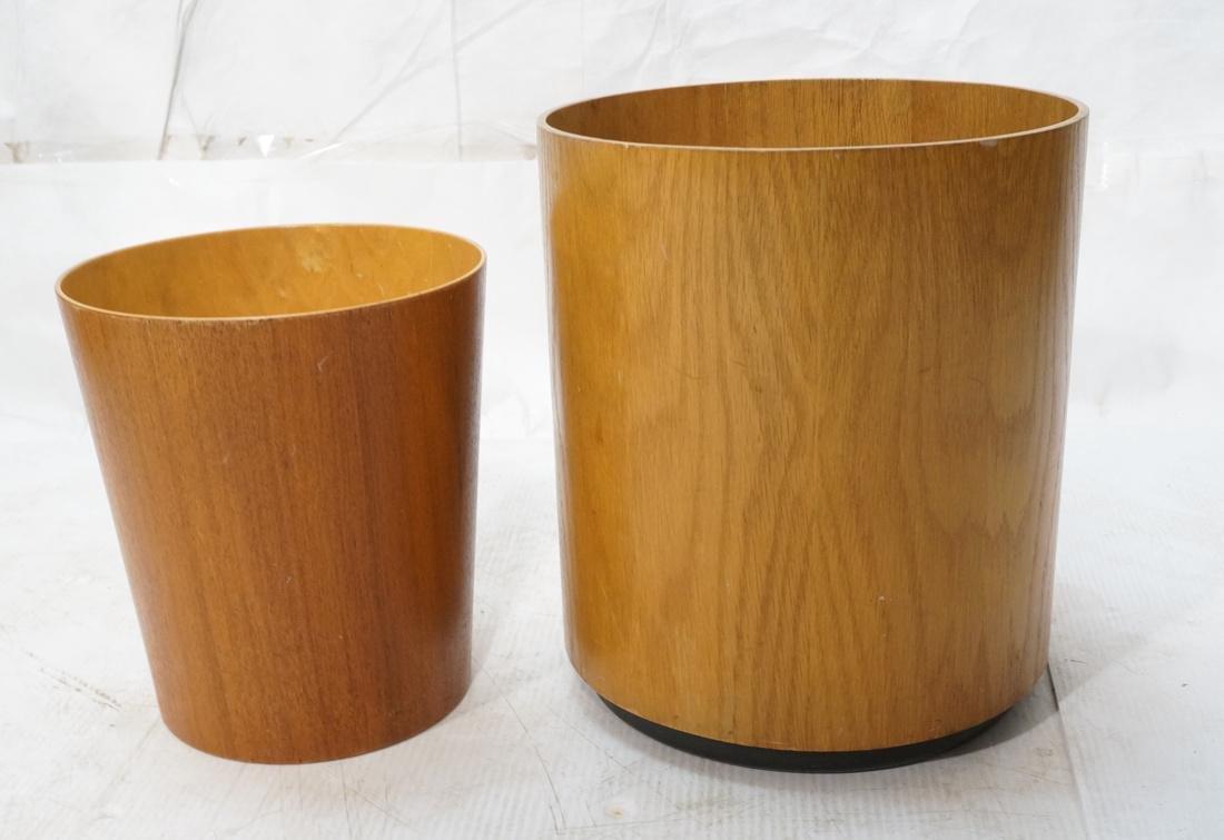 2pc Danish Teak Waste Basket Planter.  1) SEWES S