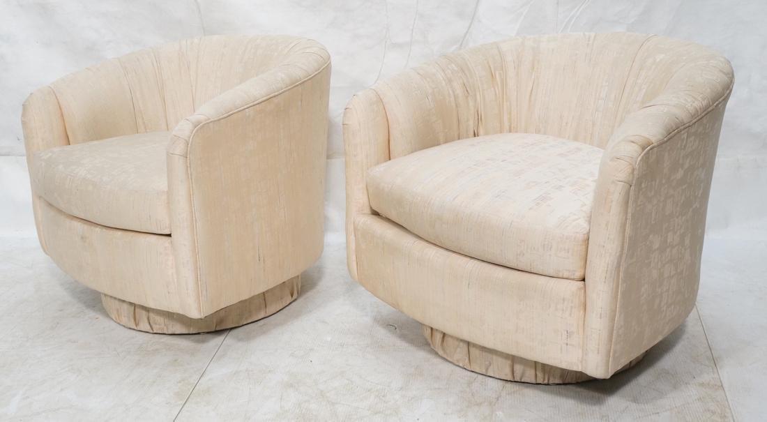 Pr Modernist Barrel Back Swivel Lounge Chairs. Pa