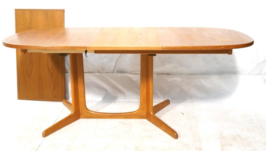 danish teak modern dining table oval top two 19 lot 0719