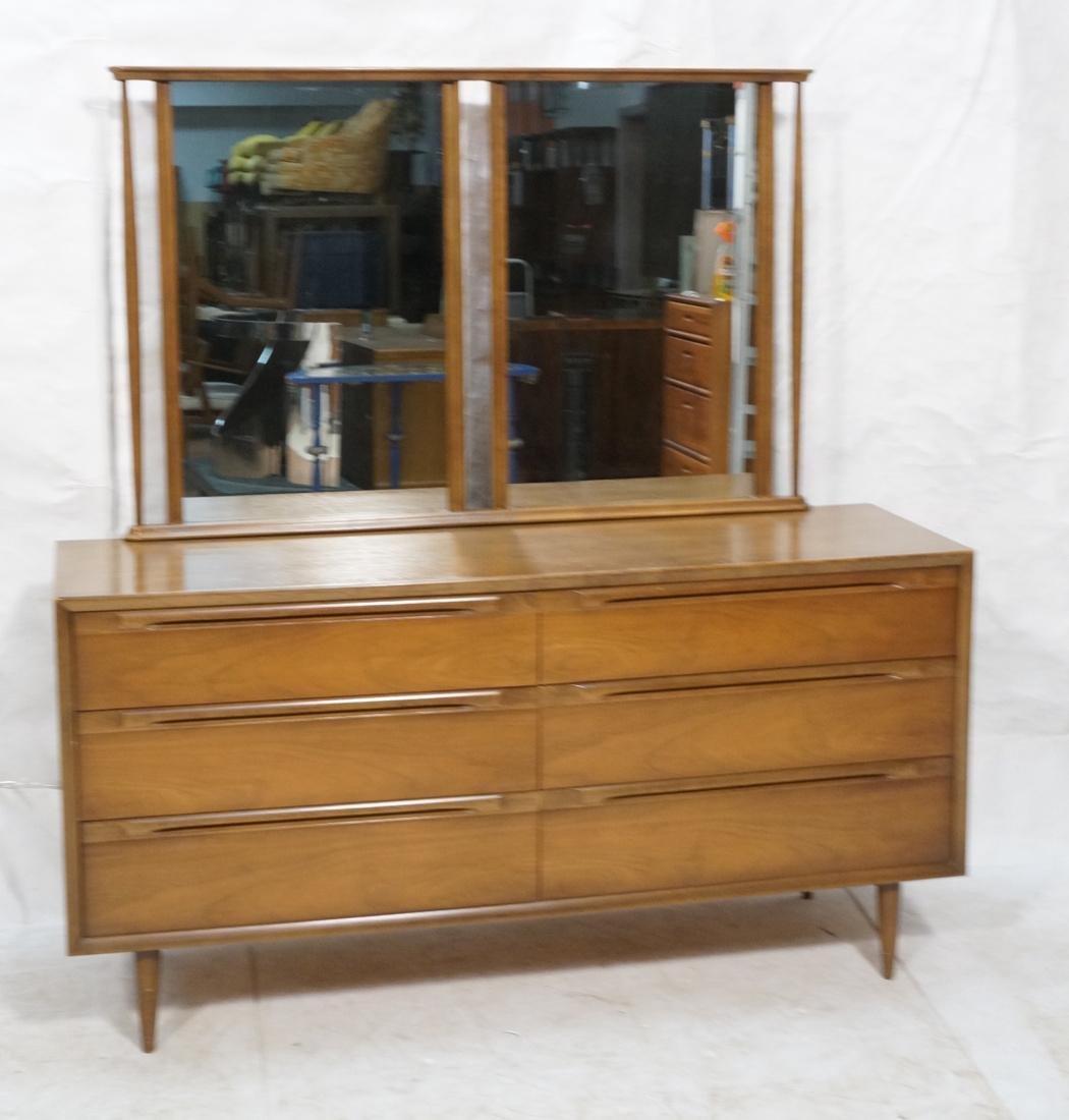 American Modern Walnut Low Chest & Mirror. Six Dr