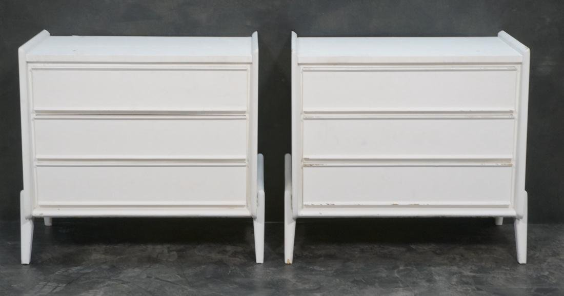 Pr White Painted Bachelor's Chest Dressers. Three