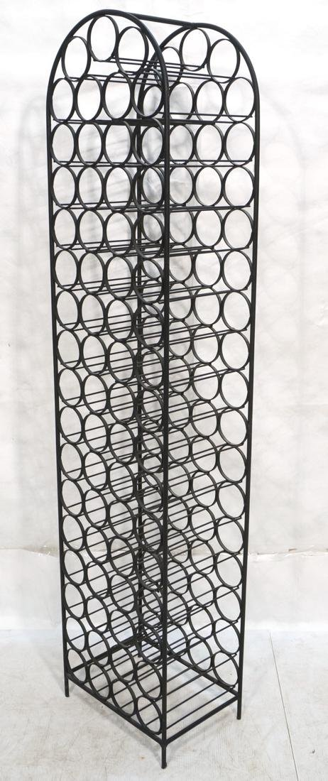 Tall Black Iron Wine Rack. Floor Model. Arched to