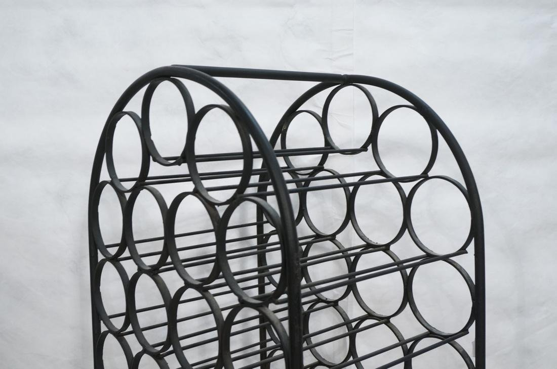 Tall Black Iron Wine Rack. Floor Model. Arched to - 2