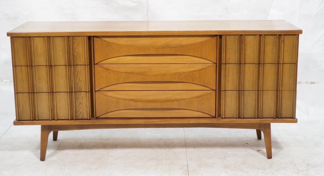 UNITED Nine Drawer Curved Front Walnut Dresser Cr