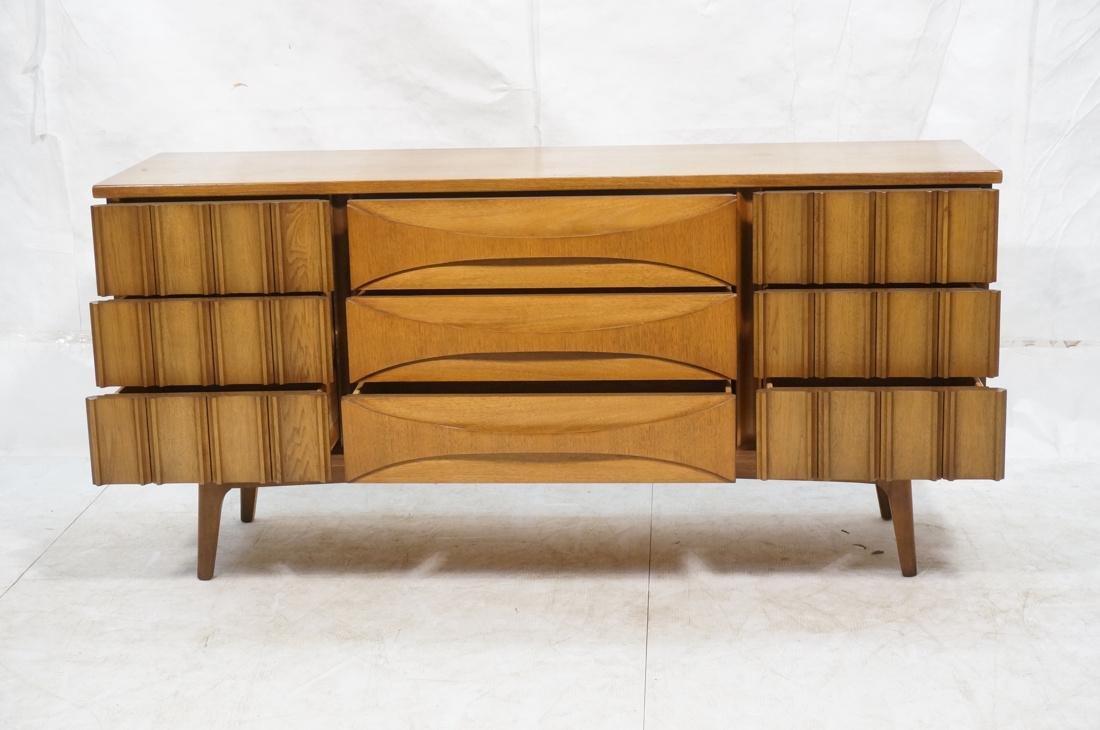 UNITED Nine Drawer Curved Front Walnut Dresser Cr - 2