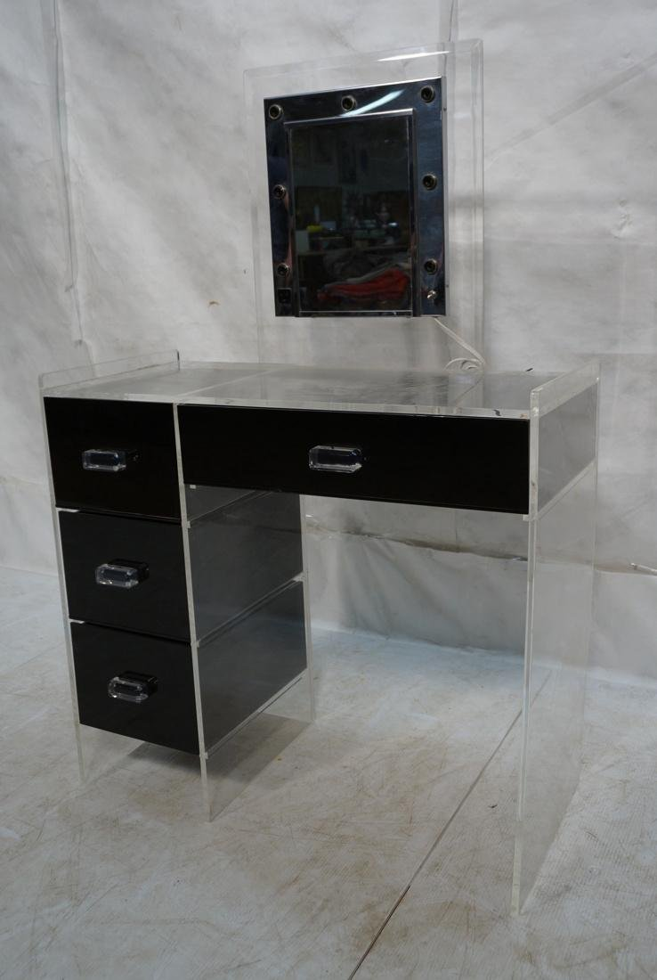Black & Clear Lucite Vanity with light up Mirror.
