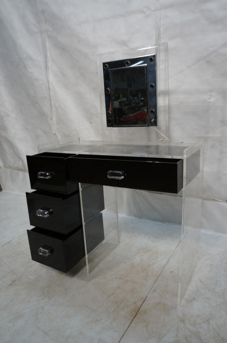 Black & Clear Lucite Vanity with light up Mirror. - 2