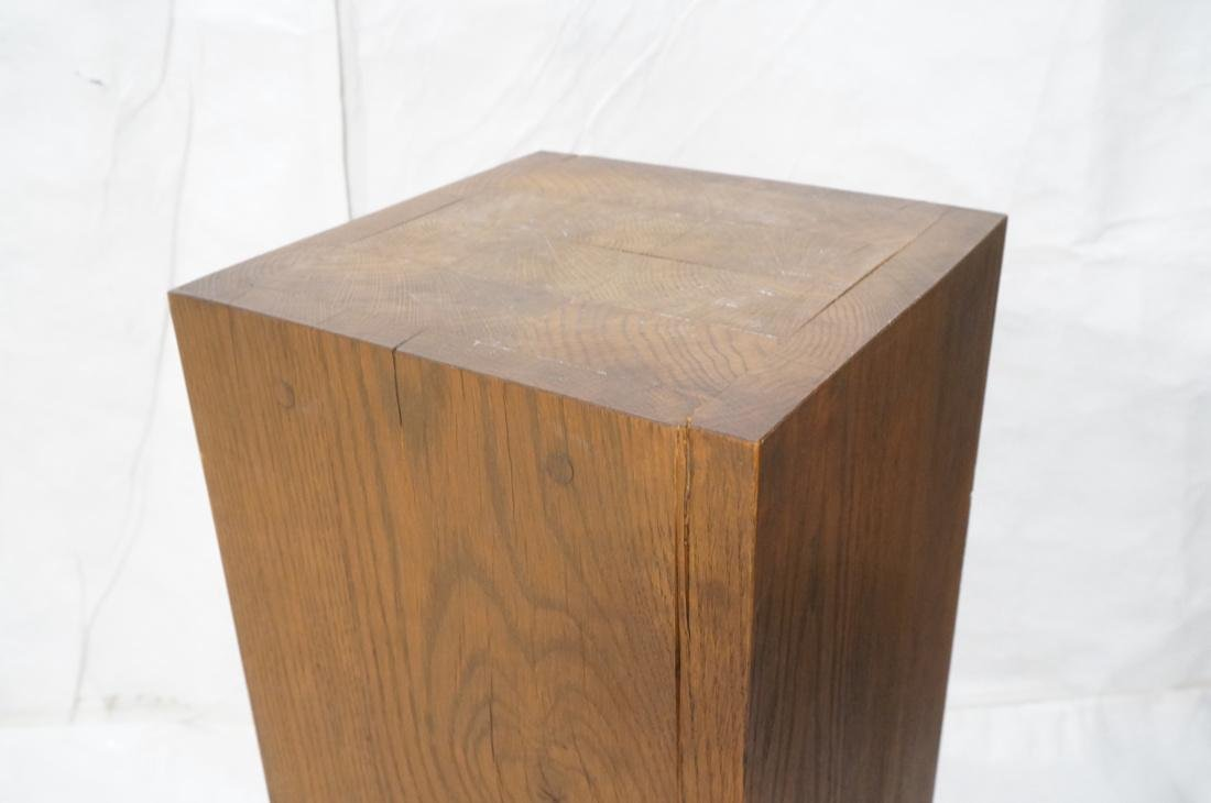 Heavy Square Solid Oak Display Pedestal. - 2