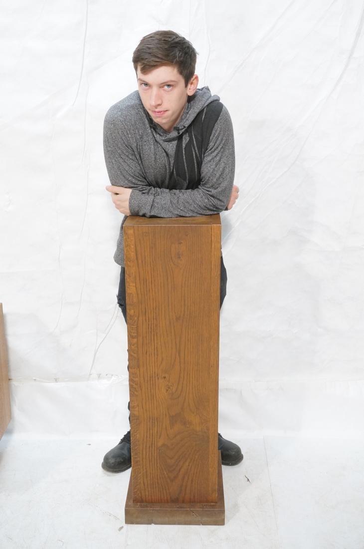 Heavy Square Solid Oak Display Pedestal. - 7
