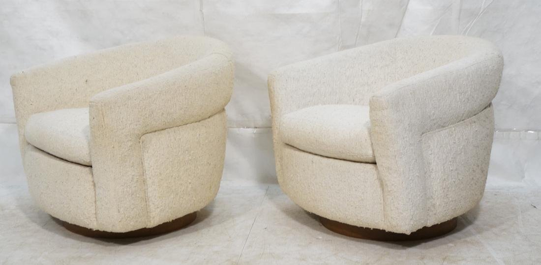 Pr MILO BAUGHMAN Barrel Back Lounge Chairs. THAYE