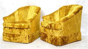 Pr Gold Plush Lounge Chairs Channel tufted back