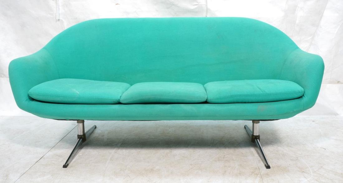 OVERMAN Modern Green Upholstered Love Seat. Sofa
