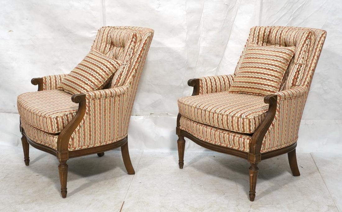 Pr Striped Fabric Decorator Lounge Chairs. Tufted