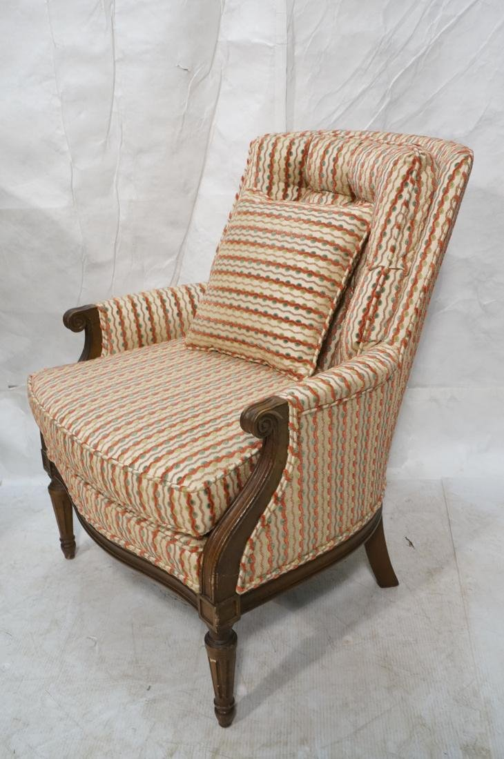 Pr Striped Fabric Decorator Lounge Chairs. Tufted - 2